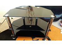 ***Excellent Cond black and chrome tv stand***