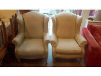 Pair of vintage Laura Ashley Southwold Wingback Chairs on castors Stars Design