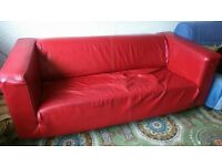 FREE SOFA - RED FAUX LEATHER 3 SEAT SOFA