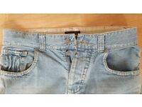 Men's Jeans W34 Reg Monsoon Light Blue Ripped Detailing