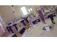 Wedding chair cover, Wedding glass hire, wedding cake and wedding flowers!