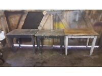 metal work bench / tables with drawers