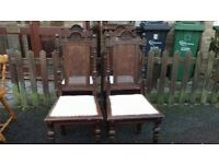 4 luxury dining chairs,carved,rattan,back,solid oak,stable,1 broken,no table