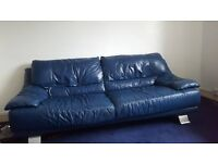 Midnight Blue leather, Large 3 piece suit/ 2 armchairs and a three seat couch