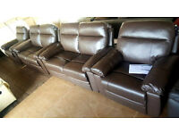 New Paolo 2X2 Seater Manual Recliner Sofa And 2XChair - Chocolate