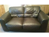 2x Brown leather 2 seater sofas