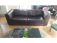 3 Seater Comfy Brown Leather Double Sofa Bed for Sale