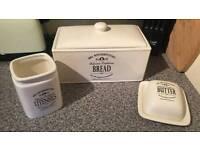 porcelain bread bin utensil and butter jar