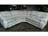 Cream Faux Suede Recliner Corner Sofa