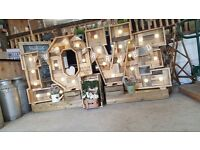 Available to hire each letter stands 3 ft tall but when crates added can be 4-5 ft tall