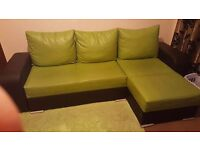 Corner sofa bed green and black