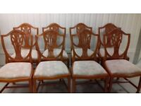 8 dining chairs,Victorian style,Yew wood,carved back,3 chairs has a little wobbly,no table