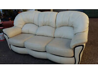 Cream lether sofa