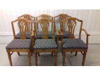 6 dining chairs,carved back,Victorian style,2 carvers,cushion clean,stable