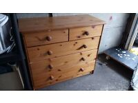 pine chest of drawers = needs fixing