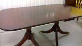 Regency dining table,Mahogany,165-220CM,width 100cm,extendable,VGC,sit up to 10