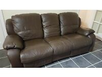 3 x 2 brown leather recliner sofas