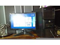 pc with flatscreen monitor included 6 gig ram 250gig hardrive nvidia geforce graphics card