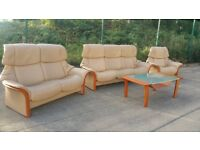 Ekornes Stressless 3 seater 2 seater & Chair Leather Recliners & Glass top table