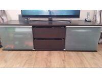 Ikea tv unit black/brown