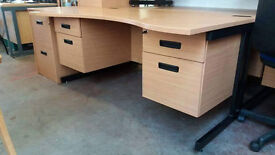 Curved office desk with fitted pedestal (delivery available)