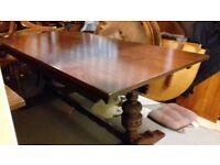 solid oak dining table,genuine Old Charm,carved leg,length,long 185cm,wide 90cm