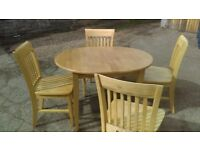 beech extending oval dining table and 4 chairs - free delivery