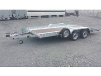 14FT 2.7ton CAR TRANSPORTER TRAILER WITH BEAVER TAIL AND RAMPS 4 WHEEL BRAKING LED LIGHTS RECOVERY