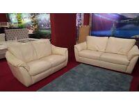 3 & 2 cream leather ikea sofas