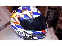 SHOEI motorcycle Helmet XS 53cm plus iridium visor and bluetooth headset