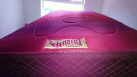 SINGLE BED AND MATTRESS - SLUMBERLAND PURPLE SEAL - IN GOOD CONDITION - PINK / PURPLE