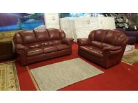 3 and 2 dark red/maroon leather sofas
