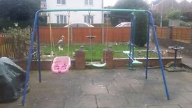 childs garden swing and seesaw set