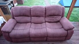 For sale 3 seater manual reclining sofa in brown.