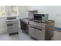 2 cookers (one with splash back and shelf), one grill and one double deep fat fryer.