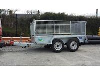 NEW 8x4 FACTORY MADE TWIN AXLE GALVANISED CAR TRAILERS WITH REMOVABLE MESHSIDES & RAMPDOOR