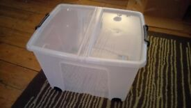 65 Litre Lidded Wheeled Plastic Storage Box from Argos