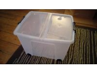 65 Litre Lidded Wheeled Plastic Storage Box from Argos