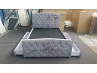 🟠🟢 Plush Velvet King Size Beds with 4 Drawers and Diamond Headboard 🟠🟢