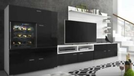Brand new black high gloss tv unit with wine fridge, unwanted present