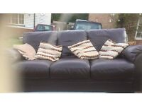 leather 2 and 3 seater sofas brown