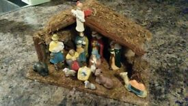 13 piece porcelain nativity set with wooden stable
