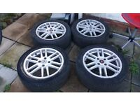 "Genuine Mitsubishi Galant 17"" Alloy Wheels with Tyers which should fit other Japanese 4 stud cars"