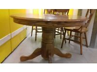 Round dining table,solid oak,non-extendable,carved,105cm,adjust screw,no chair