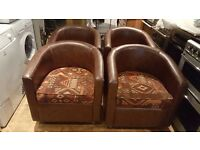 4 Brown tub chairs