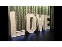Wedding LED 4ft LOVE letters to Hire