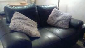 2x 2 brown leather sofa