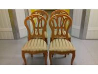 4 dining chairs,Queen Anne style,Yew wood,carved,cushion clean,stable,sturdy