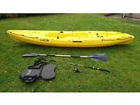 Sit on Ocean Kayak with paddle, seat back, fishing rod &shoulder. Excellent condition.. 8 foot.