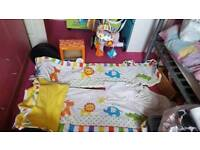 Cot bedding and mobile